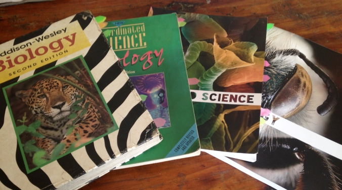 Some of my affordable science textbooks.